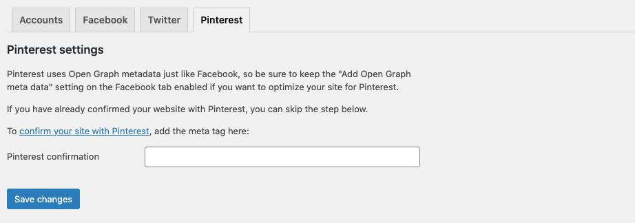 WordPress SEO Pinterest Tab