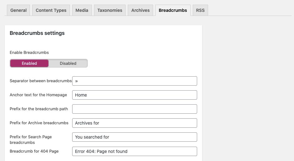 WordPress Yoast SEO Breadcrumbs